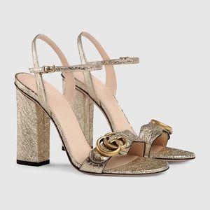 GUCCI Metallic laminate leather heel sandal 39.5